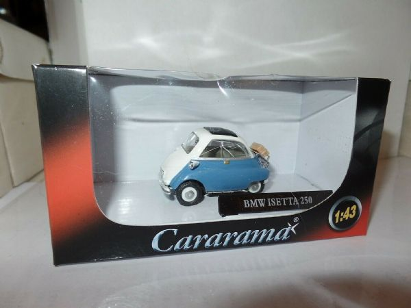 Cararama 215ND 007 1/43 Scale BMW Isetta 250 Bubble Car Blue / White Suitcase